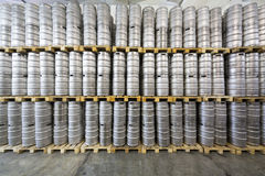 The wall of beer kegs in stock brewery Ochakovo Royalty Free Stock Photos