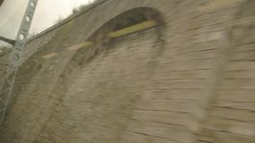 Wall behind window of train. stock video