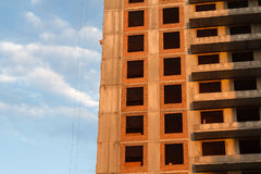 Wall is being built brick block of flats Royalty Free Stock Image