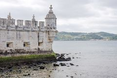 Wall of the Belem, Tower Torre de Belem, on the Tagus river, Lisbon, Portugal. Royalty Free Stock Images