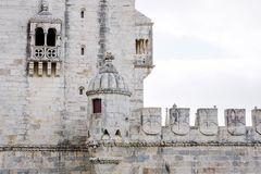 Wall of the Belem, Tower Torre de Belem, on the Tagus river, Lisbon, Portugal. Stock Photography