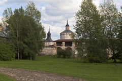 Wall of the Big Assumption Monastery and the Tower of the Deaf (boiler) and Kuznechnaya in Kirillo-Belozersky Monaster Stock Image