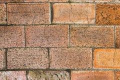 Wall of big brown bricks. Close up stock image