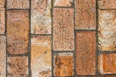 Wall of big brown bricks. Close up royalty free stock photography