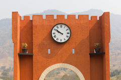 The wall with big clock Royalty Free Stock Image