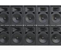 Wall of big concert loudspeakers Stock Image