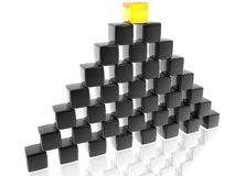 The wall of black cubes. With golden one Stock Image
