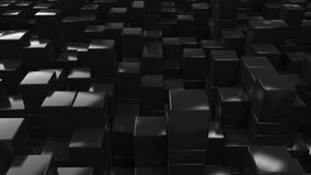 Wall of black cubes. Abstract 3d background. 3D render illustration Royalty Free Stock Photos