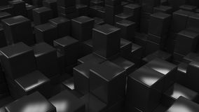 Wall of black cubes. Abstract 3d background. 3D render illustration Stock Photos