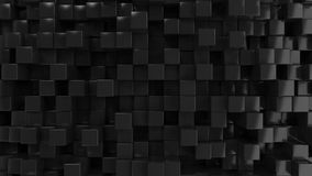 Wall of black cubes. Abstract 3d background. 3D render illustration Royalty Free Stock Image