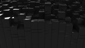 Wall of black cubes. Abstract 3d background. 3D render illustration Royalty Free Stock Photo