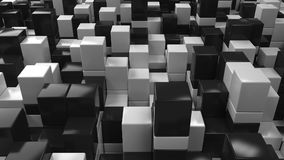 Wall of black and white cubes. Abstract 3d background. 3D render illustration Royalty Free Stock Photos