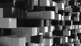 Wall of black and white cubes. Abstract 3d background. 3D render illustration Royalty Free Stock Images