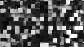 Wall of black and white cubes. Abstract 3d background. 3D render illustration Royalty Free Stock Photo