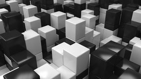 Wall of black and white cubes. Abstract 3d background. 3D render illustration Stock Photo