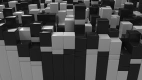Wall of black and white cubes. Abstract 3d background. 3D render illustration Royalty Free Stock Image