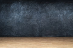 Wall blackboard and wooden floor Stock Photo