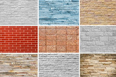 Wall blick set cement and stone background texture. Royalty Free Stock Photos