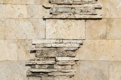 The wall of blocks from yellow shell rock. Background Stock Image