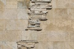 The wall of blocks from yellow shell rock. Background Royalty Free Stock Photography