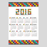 2016 wall blocky color calendar from little numbers vector illustration