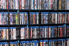 Wall of Blu Ray Movie. A wall of blu ray disc from various movie on display. Photo was taken on 18 August 2012 Stock Photo