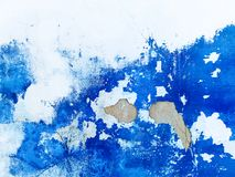 Wall blue abstract painting background. Venezian Stucco royalty free stock photo