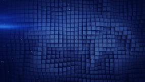 Wall of blue cubes abstract background 3D rendering. Wall of blue cubes and lens flares. Abstract geometric background. 3D rendering stock illustration
