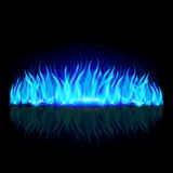 Wall of blue fire on black. Stock Photos