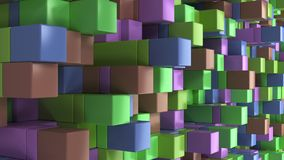 Wall of blue, green, brown and purple cubes. Abstract colorful 3d background. 3D render illustration Stock Photos