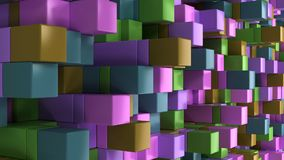Wall of blue, green, brown and purple cubes. Abstract colorful 3d background. 3D render illustration Stock Image