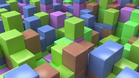 Wall of blue, green, brown and purple cubes. Abstract colorful 3d background. 3D render illustration Royalty Free Stock Photos