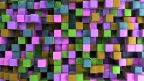 Wall of blue, green, brown and purple cubes. Abstract colorful 3d background. 3D render illustration Stock Photo