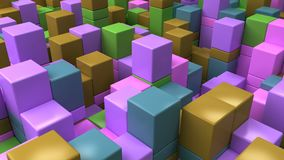 Wall of blue, green, brown and purple cubes. Abstract colorful 3d background. 3D render illustration Royalty Free Stock Photo