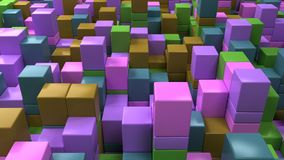 Wall of blue, green, brown and purple cubes. Abstract colorful 3d background. 3D render illustration Royalty Free Stock Image