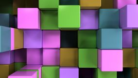 Wall of blue, green, brown and purple cubes. Abstract colorful 3d background. 3D render illustration Royalty Free Stock Images