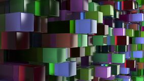 Wall of blue, green, brown and purple glass cubes. Abstract colorful 3d background. 3D render illustration Stock Photo