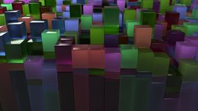 Wall of blue, green, brown and purple glass cubes. Abstract colorful 3d background. 3D render illustration Stock Image