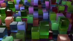 Wall of blue, green, brown and purple glass cubes. Abstract colorful 3d background. 3D render illustration Royalty Free Stock Images