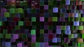 Wall of blue, green, brown and purple glass cubes. Abstract colorful 3d background. 3D render illustration Royalty Free Stock Photos