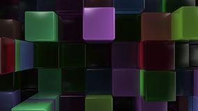 Wall of blue, green, brown and purple glass cubes. Abstract colorful 3d background. 3D render illustration Stock Photos