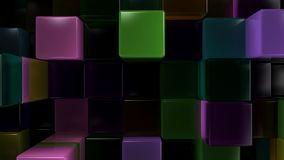 Wall of blue, green, brown and purple glass cubes. Abstract colorful 3d background. 3D render illustration Royalty Free Stock Image