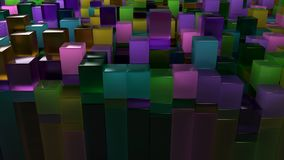 Wall of blue, green, brown and purple glass cubes. Abstract colorful 3d background. 3D render illustration Royalty Free Stock Photography