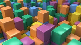 Wall of blue, green, orange and purple cubes. Abstract colorful 3d background. 3D render illustration Royalty Free Stock Images