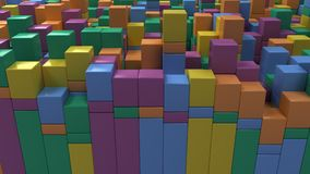 Wall of blue, green, orange and purple cubes. Abstract colorful 3d background. 3D render illustration Royalty Free Stock Photos