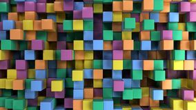 Wall of blue, green, orange and purple cubes. Abstract colorful 3d background. 3D render illustration Stock Photo