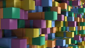 Wall of blue, green, orange and purple cubes. Abstract colorful 3d background. 3D render illustration Royalty Free Stock Photo