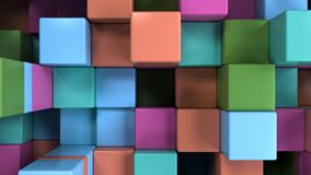 Wall of blue, green, orange and purple cubes. Abstract colorful 3d background. 3D render illustration Stock Photography