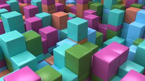 Wall of blue, green, orange and purple cubes. Abstract colorful 3d background. 3D render illustration Royalty Free Stock Photography