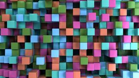 Wall of blue, green, orange and purple cubes. Abstract colorful 3d background. 3D render illustration Royalty Free Stock Image